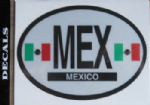 Mexico Country Flag Oval Decal.